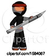Orange Ninja Warrior Man Holding Large Scalpel