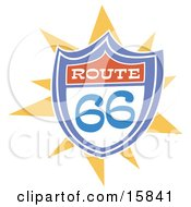 Colorful Route 66 Highway Sign Clipart Illustration