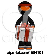Orange Ninja Warrior Man Gifting Present With Large Bow Front View