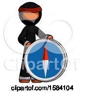 Orange Ninja Warrior Man Standing Beside Large Compass