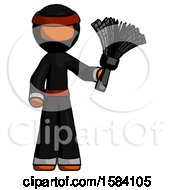 Orange Ninja Warrior Man Holding Feather Duster Facing Forward