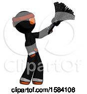 Orange Ninja Warrior Man Dusting With Feather Duster Upwards