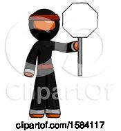 Orange Ninja Warrior Man Holding Stop Sign