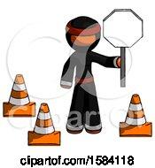 Orange Ninja Warrior Man Holding Stop Sign By Traffic Cones Under Construction Concept