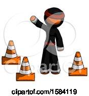 Orange Ninja Warrior Man Standing By Traffic Cones Waving