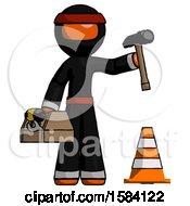 Orange Ninja Warrior Man Under Construction Concept Traffic Cone And Tools
