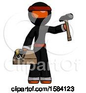 Orange Ninja Warrior Man Holding Tools And Toolchest Ready To Work