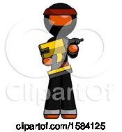 Orange Ninja Warrior Man Holding Large Drill