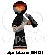 Orange Ninja Warrior Man Holding Hammer Ready To Work