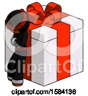 Orange Ninja Warrior Man Leaning On Gift With Red Bow Angle View