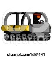 Orange Ninja Warrior Man Driving Amphibious Tracked Vehicle Side Angle View