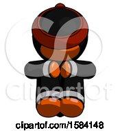 Orange Ninja Warrior Man Sitting With Head Down Facing Forward