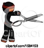Orange Ninja Warrior Man Holding Giant Scissors Cutting Out Something