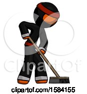 Orange Ninja Warrior Man Cleaning Services Janitor Sweeping Side View