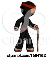 Orange Ninja Warrior Man Walking With Hiking Stick