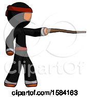 Orange Ninja Warrior Man Pointing With Hiking Stick