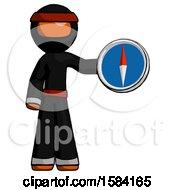 Orange Ninja Warrior Man Holding A Large Compass