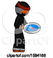 Orange Ninja Warrior Man Looking At Large Compass Facing Right