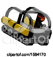 Orange Ninja Warrior Man Driving Amphibious Tracked Vehicle Top Angle View