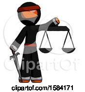 Orange Ninja Warrior Man Justice Concept With Scales And Sword Justicia Derived