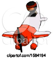 Orange Ninja Warrior Man In Geebee Stunt Plane Descending Front Angle View