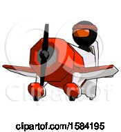 Orange Ninja Warrior Man Flying In Geebee Stunt Plane Viewed From Below
