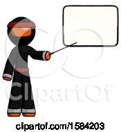 Orange Ninja Warrior Man Giving Presentation In Front Of Dry Erase Board