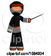 Orange Ninja Warrior Man Teacher Or Conductor With Stick Or Baton Directing