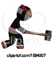 Orange Ninja Warrior Man Hitting With Sledgehammer Or Smashing Something