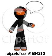 Orange Ninja Warrior Man With Word Bubble Talking Chat Icon
