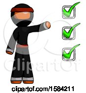 Orange Ninja Warrior Man Standing By List Of Checkmarks