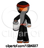 Orange Ninja Warrior Man Begger Holding Can Begging Or Asking For Charity