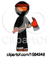 Orange Ninja Warrior Man Holding Red Fire Fighters Ax