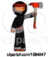 Orange Ninja Warrior Man Holding Up Red Firefighters Ax