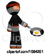 Orange Ninja Warrior Man Frying Egg In Pan Or Wok Facing Right