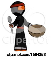 Orange Ninja Warrior Man With Empty Bowl And Spoon Ready To Make Something