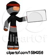 Orange Ninja Warrior Man Holding Large Envelope