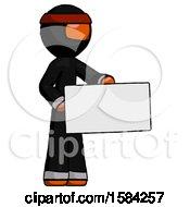 Orange Ninja Warrior Man Presenting Large Envelope