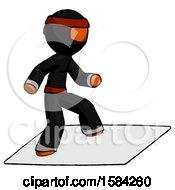 Orange Ninja Warrior Man On Postage Envelope Surfing