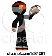 Orange Ninja Warrior Man Holding Football Up
