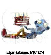 Clipart Of A 3d Blue Zombie Holding A Birthday Cake On A White Background Royalty Free Illustration