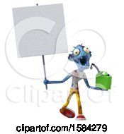 Clipart Of A 3d Blue Zombie Holding A Gas Can On A White Background Royalty Free Illustration