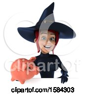 Clipart Of A 3d Sexy Blue Witch Holding A Piggy Bank On A White Background Royalty Free Illustration by Julos