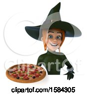 Clipart Of A 3d Sexy Green Witch Holding A Pizza On A White Background Royalty Free Illustration