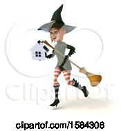 Clipart Of A 3d Sexy Green Witch Holding A House On A White Background Royalty Free Illustration