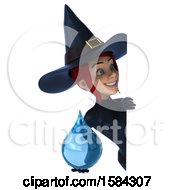 Clipart Of A 3d Sexy Blue Witch Holding A Water Drop On A White Background Royalty Free Illustration by Julos