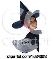 Clipart Of A 3d Sexy Blue Witch Holding A Plane On A White Background Royalty Free Illustration by Julos