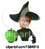 Clipart Of A 3d Sexy Green Witch Holding An Apple On A White Background Royalty Free Illustration by Julos
