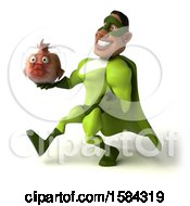 3d Buff Black Male Green Super Hero Holding A Fish In A Bowl On A White Background