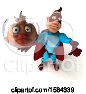 3d Buff White Male Blue And Red Super Hero Holding A Fish Bowl On A White Background